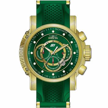 Invicta 19331 Men's S1 Rally Chrono Green Dial Yellow Gold Steel & Green Silicone Strap Watch