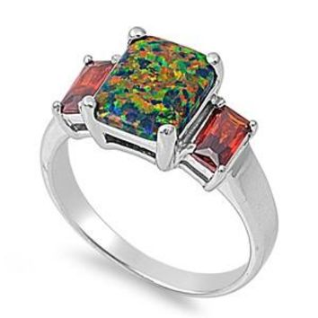 Sterling Silver Princess CZ Garnet CZ 10MM Black Lab Opal Ring