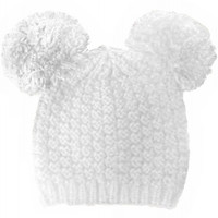Mickey Mouse Double Pom Pom Beanie Hat - White