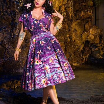 Hawaiian Hideaway Dress in Purple Hawaiian Stripe with Bolero