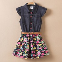 Toddler & Girls Floral Denim Dress