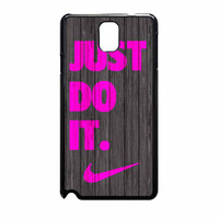 Nike Just Do It Wood Colored Darkwood Wooden Pink Samsung Galaxy Note 3 Case