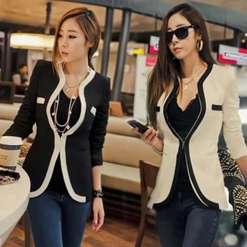 Europe Fashion Women Slim Three Quarter Shoulder Pads Small Suit Female Spring Autumn Western-Style Clothes Coat And Jackets .
