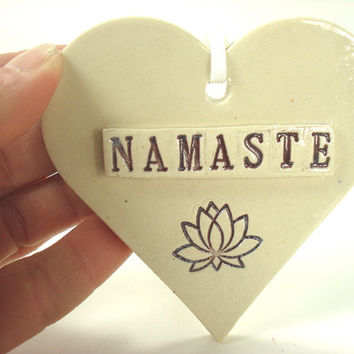 Namaste Ornament, Boho Heart, Gypsy Decor, Namaste Sign, Ohm Ornament, Bohemian Decor, Yoga Decor, Purple Lotus, Boho Ornament, Boho Decor