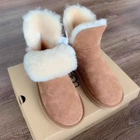 UGG hot seller of pure color and fleece snow boots, fashionable casual women's ground boots