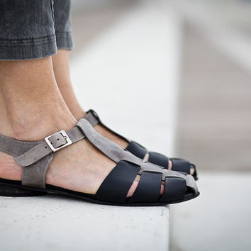 30% Sale, Annie, Flat Summer Shoes, Black and Grey Leather Sandals, Strap Sandals, Black Sandals