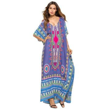 37e304ddb45df 2019 Ladies\ Print Beach Sundress Sexy V-neck Bohemian Long Dres. Gender:Women  Dresses ...