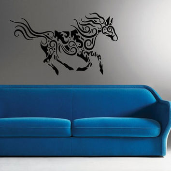 Wall Decor Vinyl Sticker Room Decal Art Tattoo Floral Horse Running Decorative 1179