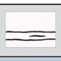 Original black and white lines painting. Few stripes illustration. Modern art.
