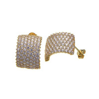.925 Sterling Silver Pave Cubic Zirconia Stud Earring