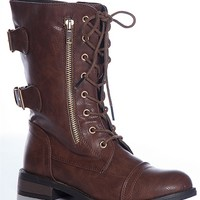 Refresh Poetry In Action Terra-20 Buckled Back Lace Up Combat Boots - Brown