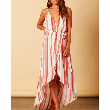 cotton candy la - bueno sera striped wrap maxi dress - terracotta