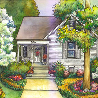 Custom Watercolor House Painting by maryfrancessmith on Etsy