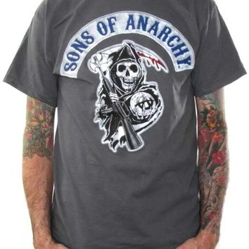 Sons Of Anarchy T-Shirt - Patch Gray
