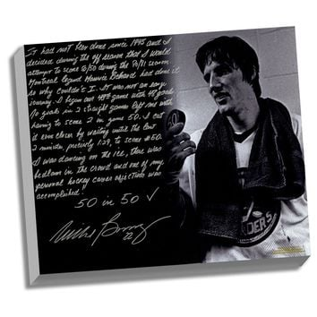Mike Bossy Facsimile 50 Goals in 50 Games Stretched 22x26 Story Canvas