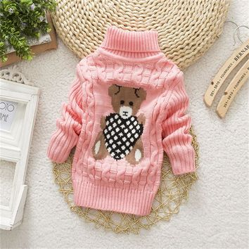 Baby girls clothes high quality pullover Turtleneck sweater Autumn winter warm cotton clothing wear kids sweater