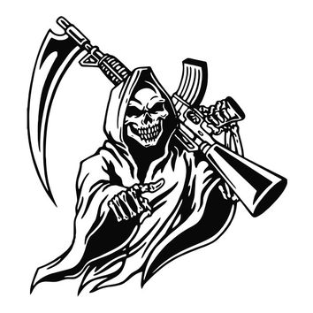 Grim Reaper with AK Gun Die Cut Vinyl Decal Sticker