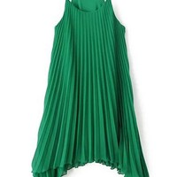 Irregular Pleated Cami Chiffon Dress - OASAP.com