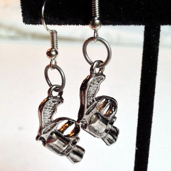 Gun Earrings, Weapon Jewelry, Handgun Charms, Silver Color, Dangle Earrings, Halloween Accessory, Assassin Costume, Cop Outfit, Pistols
