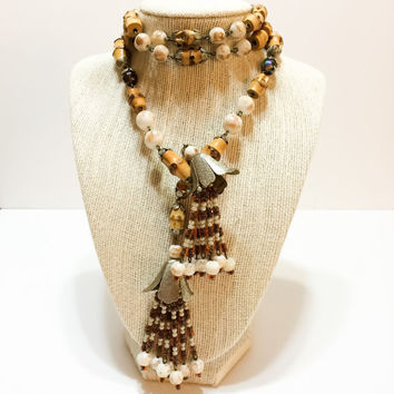 Beaded Lariat Necklace, Beach Necklace, Bamboo & Glass Beads, Seed Bead Tassels, Hobe, 1950s 1960s, Vintage Jewelry