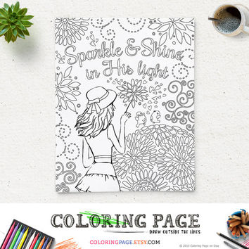 printable coloring page bible verse sparkle and shine in his light instant download kids coloring pages
