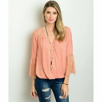 Peach bell sleeve lace detail blouse top