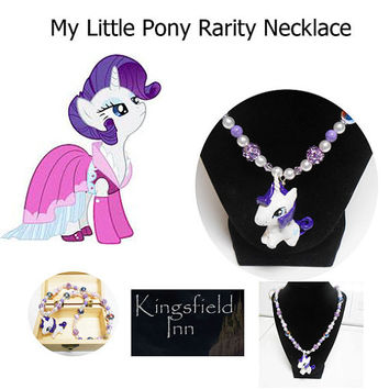 My Little Pony Rarity Purple and Pearl Beaded bubblegum necklace with treasure box