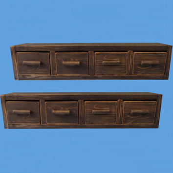 wall drawers,wall shelf,black washed distressed and brown waxed,4 drawer wall shelf