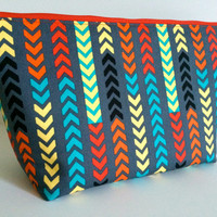 Extra Large Cosmetic Case Toiletry Bag Travel Bag Makeup Bag in Tribal Arrow