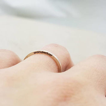 Dainty Personalized Ring - Thin Silver Rings - Inspirational Jewelry - wanderlust - Stacking Rings - Wanderlust Ring - Travel Gift