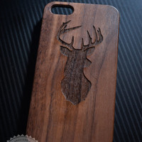 Deer Head Antler Wooden iPhone 4/4s iPhone 5/5s case walnut bamaboo wood iphone case