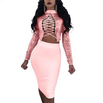 Sequins High Neck Lace Up Crop Top with Bodycon Knee-length Skirt Dress Set