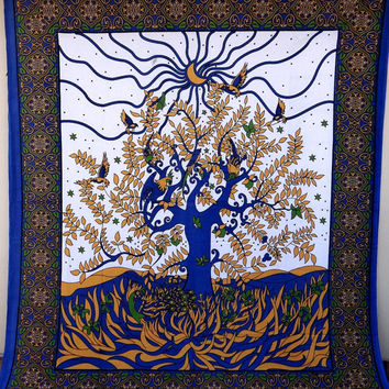 White Tree of life Sun Tapestry bedspread wall decor wall hanging dorm decor tapestries