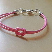 Pink Love Knot Leather Bracelet-Awareness-Forget Me Knot-Birthday Joined Together-Breast Cancer-Epilepsy-Alzheimers-Cystic Fibrosis-Lupus