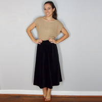 Vintage Velvet A-Line Midi Skirt, Full Skirt, Circel Skirt, Fall Winter Skirt, Small Medium