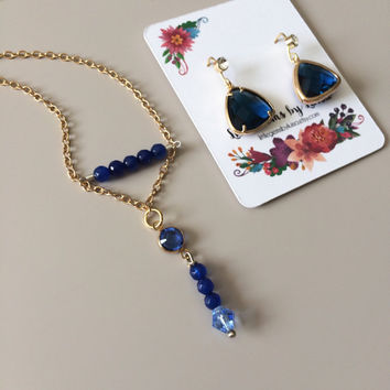 Gold & Navy Jewelry Set - Blue Sapphire Gold Set - Necklace Earring Set - Handmade Jewelry Set - Christmas Jewelry Set