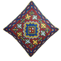 Suzani Embroidered Pillow Cover Indian Cotton Shams Throw Pillow Cases 16x16