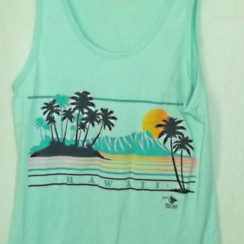 Vintage 1987 HAWAII Tank Top, Surfer, Sunset, Hawaiian, 80s, Retro, Hipster, Boho, Surf Girl, Guy, Unisex, Mountains, Palm Trees