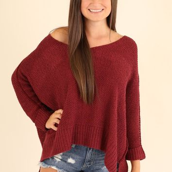 TICKET TO PARADISE SWEATER - BURGUNDY