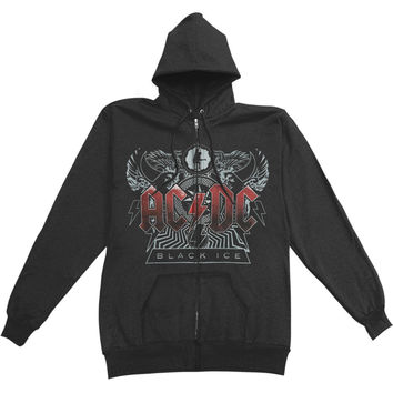 AC/DC Men's  Zippered Hooded Sweatshirt Black Rockabilia