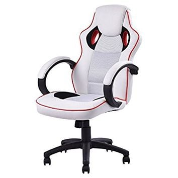 Giantex Executive High Back Sport Racing Style Gaming Office Chair Computer Swivel White