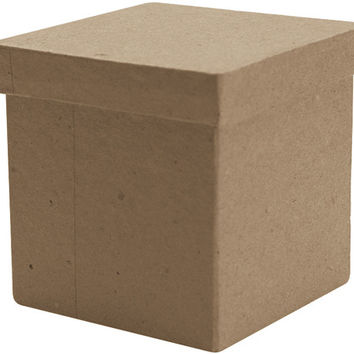 "paper mache tall square box - 3"" x 3"" x 3"""