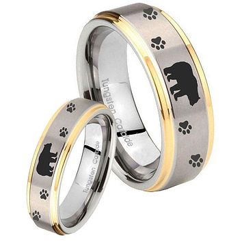 His Hers Step Edge Bear and Paw 14K Gold 2 Tone Tungsten Wedding Rings Set