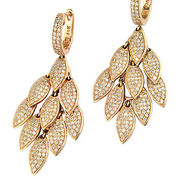 Effy Pave Rose 14Kt. Rose Gold and Diamond Fringe Drop Earrings