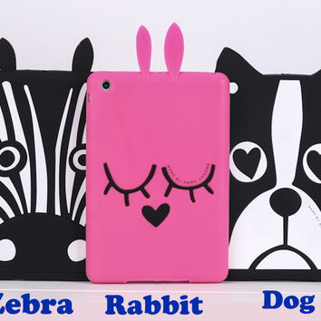 Gift 3D Cartoon Marc Rabbit Ja Bunny Zebra French Bull Dog Design Silicon red Skin Shell For APPLE iPad Mini 1 2 3 Cover Case