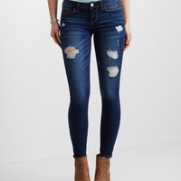 Dark Wash Destroyed Ankle Jegging