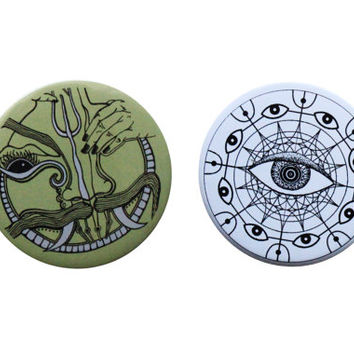 Pin Badge set- Tribal Pinback Button- Ravan-Moustache-Trippy Eye Badge Pin- Geometric Print- Button pin-Psychedelic Badge Pin- Art Pins