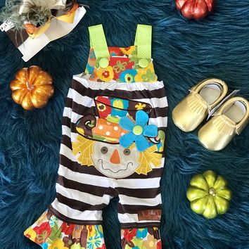 2018 Millie Jay Fall Halloween Colorful Scarecrow Romper