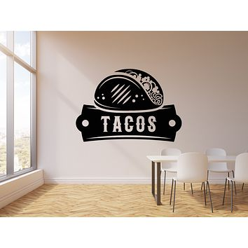 Vinyl Wall Decal Traditional Mexican Food Tasty Tacos Kitchen Decor Stickers Mural (g1566)