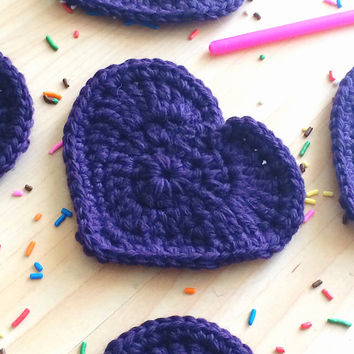 Dark purple heart shaped coasters - set of 5 crocheted with 100% Peruvian highland wool